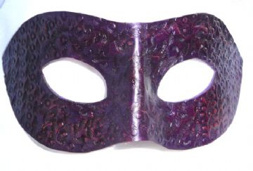 Genuine Handmade Unique  Embossed Plum Leather Mask